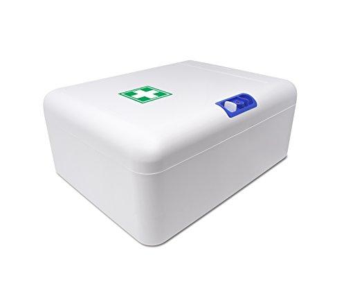 31lanKwPA4L - Botiquín Armario de primeros auxilios para pared - con 95 artículos indispensables para realizar curas de emergencia, blanco