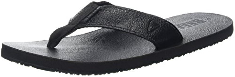 Reef Leather Smoothy Black, Sandalias para Hombre