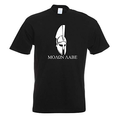 Kostüm Leonidas Sparta - Kiwistar Sparta 300 Helm Molon Labe T-Shirt Motiv Bedruckt Funshirt Design Print