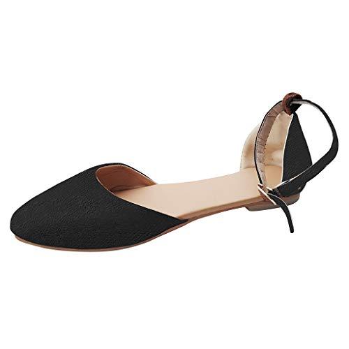 YWLINK Retro Damen Sommer Flache Schuhe Pointed Toe Atmungsaktiv Bequem Pump Sandalen Ankle Schnalle(Schwarz,EU 37.5) -