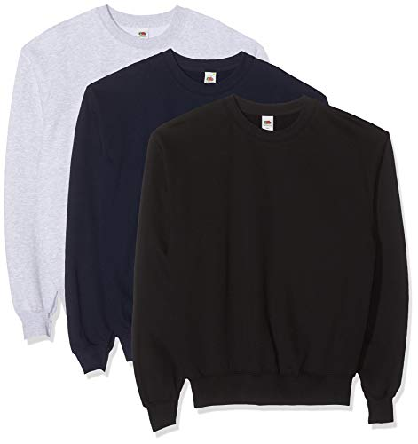 Fruit of the Loom Herren Classic Set In Sweat, 3 Pack Sweatshirt, Mehrfarbig (Black/Heather Grey/Deep Navy 26), X-Large (3er Pack)