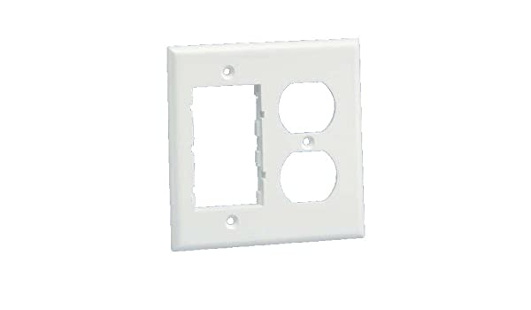 Plastic 942755 Panduit FP2DCIW Double Gang 106 Duplex Electrical and Two Communication Insert Faceplate