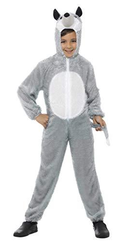 Junge Kostüm Kleiner Wolf - Smiffys Kinder Unisex Wolf Kostüm, Jumpsuit mit Kapuze, Größe: M, 30788