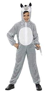 Smiffys-48186 Disfraz de Lobo Gris, Incluye Enterizo con Capucha, Color, S-Edad 4-6 años (Smiffy