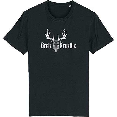 Trachten T-Shirt Greiz Kruzifix Bio Baumwolle S-3XL Trachtenshirt Oktoberfest Bayrisch Wiesn Lederhosen Männer Herren Hirsch Österreich (Schwarz-Weiss, L)