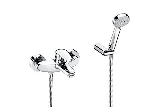 Roca Logica-N – grifo monomando exterior baño y ducha con inversor automático, ducha de mano, flexible de 1,70  . Griferías hidrosanitarias Monomando. Ref. A5A3036C00