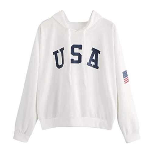 SHOBDW Herbst Winter Mode Damen Hoodie Simplicity Brief USA Flagge Gedruckt Sweatshirt Langarm Pullover Tops Bluse Frauen Einfach und Stilvoll Activewear Lauftraining Bluse