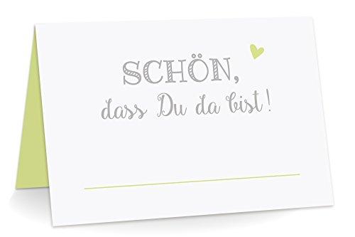 KuschelICH 50 Premium Tischkarten Schön DASS Du da Bist mit Herz hellgrün - Platzkarten zum selbst Beschriften (Hellgrün, 50)