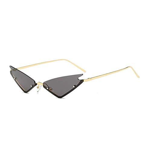WJFDSGYG Cosplay Spitzen Dreieck Sonnenbrille Hippie Coole Sonnenbrille Männer Kleine Randlose Cat Eye Sonnenbrille Frauen Mode Spiegelgläser Hippie Cat