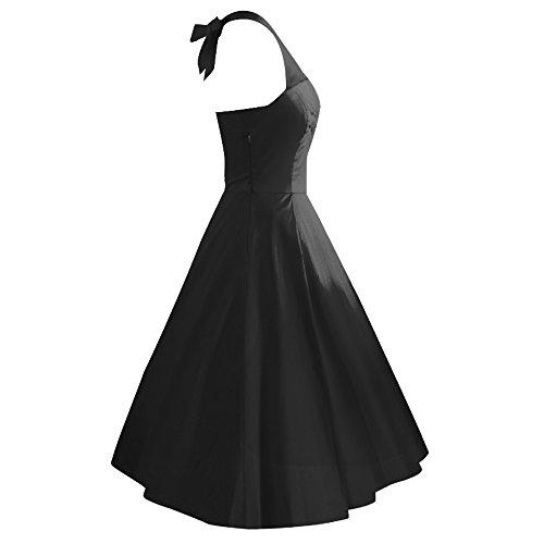iLover Vintage 1950's Marilyn Monroe pin up robe de soirée cocktail, style halter années 50 robe rockabilly Noir