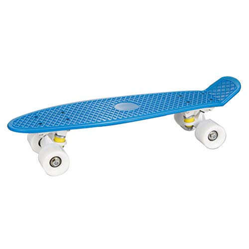 22 Inch Cruiser Skateboard Complete Plastic Banana Board mit Bendable Deck and Smooth PU Casters for Kids Boys Youths Beginners,Blue