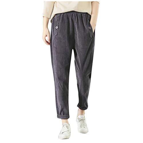 Xmiral Hosen Damen Einfarbig Elastische Taille Freizeithosen mit Tasche Sport Laufen Jogginghose Cordhose Bequeme Hosen(Grau,L)