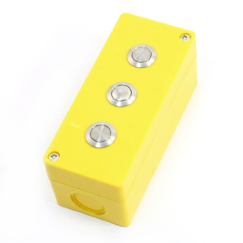 Aexit 3A 250V AC Gelb Kunststoff rechteckigen Kasten 3 Metall Drucktaster Station de