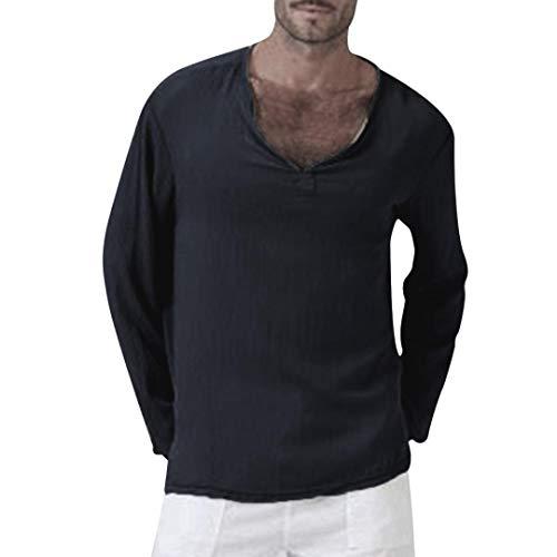 Herren Langarmshirt Baumwolle Leinen Longsleeve V-Ausschnitt Slim Fit T-Shirt Oberteile Fitness...