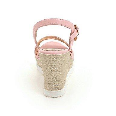 LvYuan Da donna Sandali Decolleté PU (Poliuretano) Estate Matrimonio Casual Formale Serata e festa Decolleté Fibbia Zeppa Bianco Nero Rosa7,5 - blushing pink