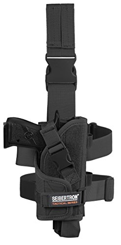 Seibertron Adjustable Tactical/Airsoft Hunting Right Handed Leg Pistol Gun Holster/Pouch Holder Drop Leg Thigh Holster Black (Airsoft Gun Holster)