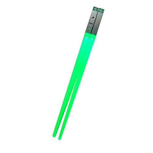 Wokee 1 Paar LED Light Up Leuchtstäbchen Tragbares Stäbchen Laserschwerter für Star Wars Thema Party Fun Eat in The Dark 6 Farben,26x1x1cm,Essstäbchen Set (Grün)
