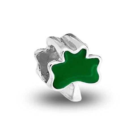 Bling Jewelry 4 Leaf Clover Charm 925 Sterling Silver Green Shamrock Irish Flower Beads