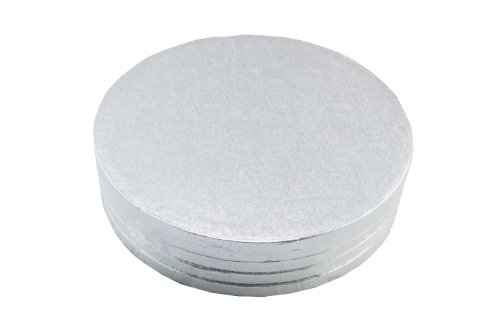 Bakers Toolkit 10-inch Dia Round Cake Board, Pack of 5, Silver