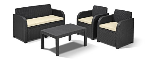 Allibert by Keter Carolina Outdoor 4 Seater Rattan Lounge Garden Furniture Set – Graphite with Cream Cushions