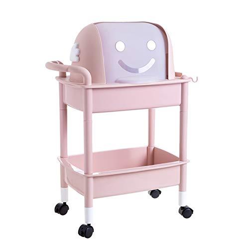 Allzweckwagen Doppelboden-Küchenwagen, Haushalts-Obstwagen, Obst- und Gemüsegestell mit Deckel (Farbe : Pink)