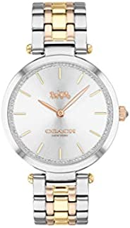 Coach Women's Silver White Dial Triple-Tone Stainless Steel Analog Watch - 1450