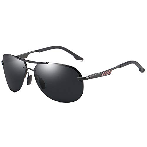 Lxc Trend New Street Shooting Wild Metal Material Polarisierte Sonnenbrille Silber/Schwarz Männer Und Frauen Mit Der Gleichen Sonnenbrille Fahren Zeige Temperament (Farbe : Black)