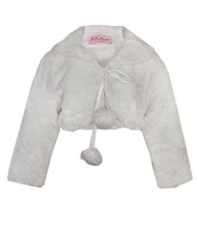 Ragazze pelliccia finta damigelle d'onore giacca pompom mantella tippet bolero avvolgente coprispalle - sintetico, crema, 100% poliamide, unisex bambini, 5-6 anni