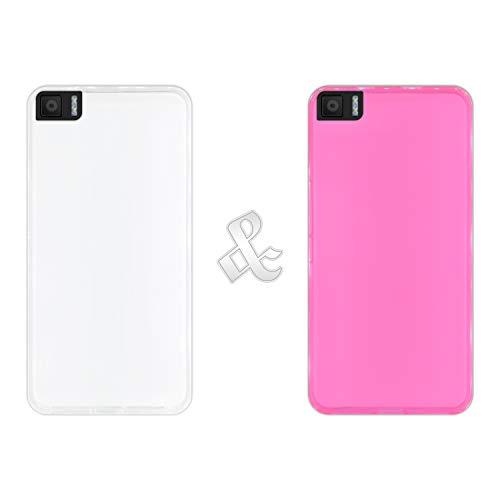 Pack [2 Stück] Hülle [Klar + Pink] für [Bq Aquaris M5.5], Handyhülle Silikon Flexibel Gel, Stoßfest, Harte Schutzhülle, Schutz vor Kratzer & Staub