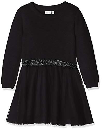 NAME IT Mädchen Kleid NKFRALUKKA LS Knit Dress NOOS 13162828, Einfarbig, Gr. 140, Schwarz (Schwarz Black) (Für Velvet-kleid Baby Mädchen)