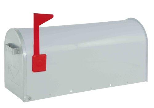 Rottner Briefkasten Mailbox Alu weiß, Schnappverschluss, mit optischer Füllanzeige (Fähnchen zum hochklappen) (Steel Box Tool Rot)