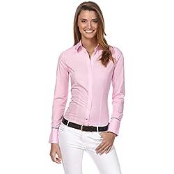Vincenzo Boretti Camisa de Mujer, Corte Ligeramente más angosto, 100% algodón, Manga-Larga, Lisa, fácil de Planchar, Cuello Kent, Elegante y clásica Rosa Oscuro 38