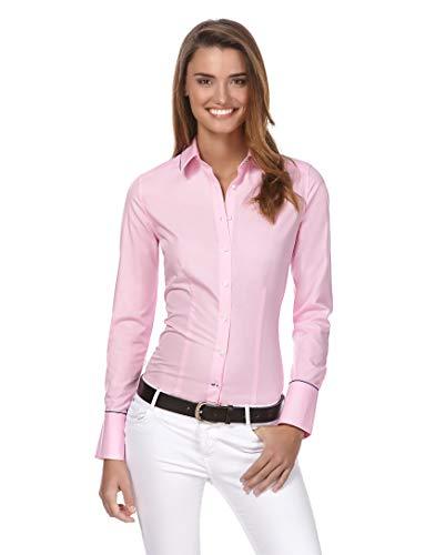 Vincenzo Boretti Damen Bluse leicht tailliert 100% Baumwolle bügelleicht Langarm Hemdbluse elegant festlich Kent-Kragen auch für Business und unter Pullover pink 40 - Herz Tunika Pullover