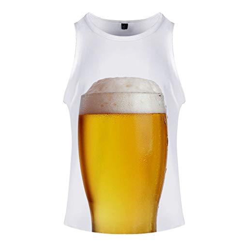 Herren Tank Top Sport T Shirt Sommer Bier Festival 3D gedruckt O-Neck Short ärmellose Weste Top Trachten Oktoberfest Männer Hemd Oberteile Sportweste für Herren (Rock 2019 Der Halloween-kostüm)
