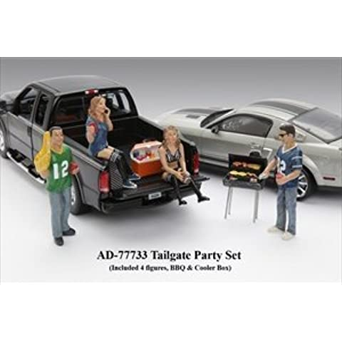Tailgate Party four Figure Set For 1:18 Models #77733.Include 4 figures, BBQ Grill and Cooler Box.# Does not come with cars shown. by American Diorama