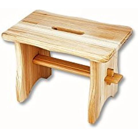 Relaxdays - Taburete Reposapiés, hecho de madera maciza, 40 x 22 x 20 cm, con mango, color madera
