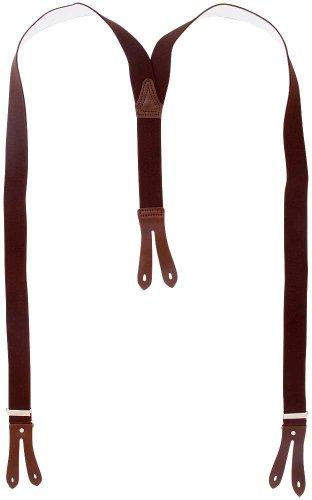 Harrys-Collection Hosenträger Knopfloch echte Lederpatten 11 Farben , Farben:dunkelbraun, Größen:130 cm