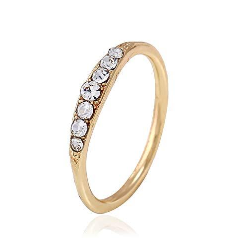 MNEFEL Exquisite Baguette Diamant Ring Stacking Ring zierliche Ring stapelbar Ring Geschenk Größe 5-12 (11 Stacking Ringe Größe)