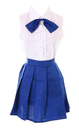 Kawaii-Story MN-101 Fairy Tail Erza Scarlet Blau Weiß Bluse Rock Kostüm Set Manga Anime Cosplay (XXL)
