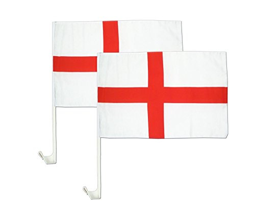 Deluxe 2 x England St George Cross Auto Flaggen – England Fußball Party Decor Wimpelkette Flagge