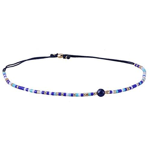 KELITCH Armband Damen Frauen Mischen Blau Rocailles Perlen Schwarz Zart Schnur Freundschaftsarmbänder mit Blau Sodalith Strangarmband Armbänder Männer