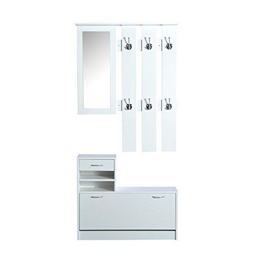 Homcom Ensemble de Meubles d'entrée Design Contemporain : Meuble Chaussures, Miroir et Panneau Porte-Manteau Panneaux de Particules Blanc