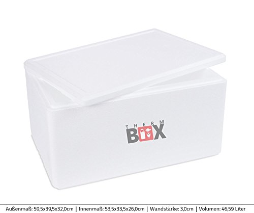 THERM-BOX Styroporboxen in Verschiedenen Größen. 2 bis 88 Liter L-XXL Isolierbox Thermobox Kühlbox Warmhaltebox Weiß und Schwarz in Profiqualität, Art der Box:XL 46.59L 59.5x39.5x32.0cm d=3.0cm