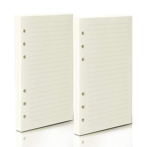 Nachfüllbares Notizbuch 160 Blatt Teenitor A6 (17 x 10,5 cm) Leder-Tagebuch, liniertes Papier, 6-Loch-Einlagen, 320 Seiten, Nachfüll-Papier für Reisetagebücher, Notizbücher, Planer, Tagebuch, liniert