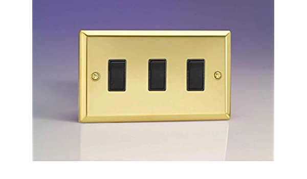 Varilight XVT9 Victorian Polished Brass 4 Gang 1 or 2 Way Toggle Light Switch