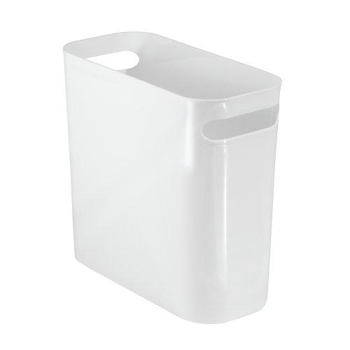 IDesign Cubo de basura con asas, papelera pequeña de plástico para residuos, moderna papelera de cocina...