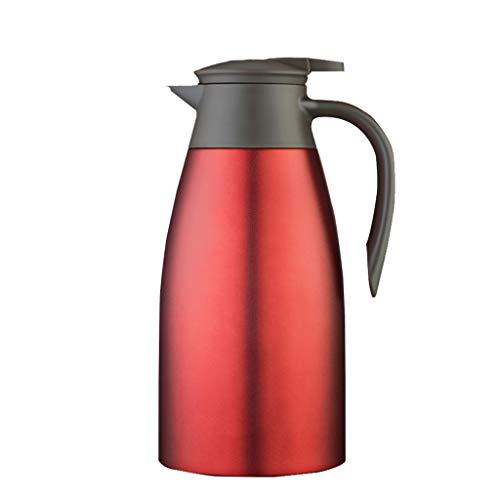 FYCZ Edelstahl Pumpe Aktion Isolierflasche Krug - Ideal heiße und kalte Getränke Getränke Tee Kaffee Wasser groß (2L) (Farbe : Red) -