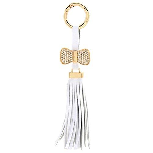 ZPL Fiocco in pelle PU nappe cinghia fascino portachiavi ciondolo per chiavi borse auto , white ,