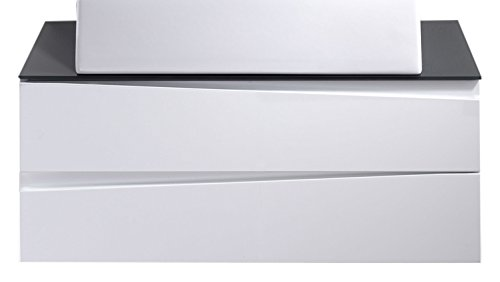 Cavadore Waschtisch Sharpcut-Bad / Weißer Badezimmerunterschrank mit weißer Front zum Aufhängen / mit grauer Glasauflage / inkl. 2 Schubladen / 47 x 80 x 33 cm