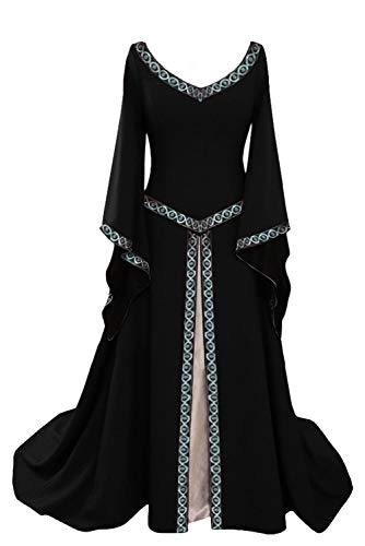 Disfraz de V Cuello en V Medieval para Mujer Vestido Largo Manga Larga Vintage Negro, M